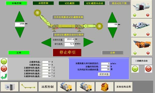 详细介绍: 第一节 系统目标 一、实现综采工作面设备远程集中控制、运行参数监控、运行工况动画模拟、故障报警功能:包括采煤机、前后(刮板机、转载机、破碎机)、皮带机、乳化液泵站、供水泵站等。 二、实现对讲通讯、故障急停。 三、实现关键部位图像监控录像功能。 四、实现远程协助诊断和维护。 五、实现在线监测工作面设备工况及故障并传输到顺槽和地面计算机。 六、实现有害气体监控。 第二节 系统结构 由传输部分、顺槽集控操作台、数据采集终端、现场传感器、语音图像、地面站六部分组成。 一、传输部分:由矿用隔爆千兆环网交